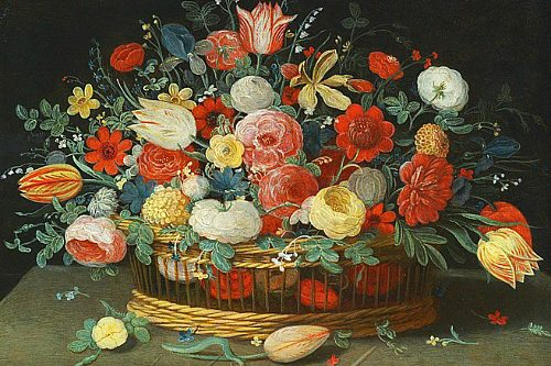 Unknown-(Flemish)-Still-Life-with-Flowers-in-a-Basket-17th-century